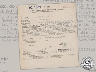 Croatia, Independent State. A Silver Bravery Medal Award Document to NCO Karl Mitter
