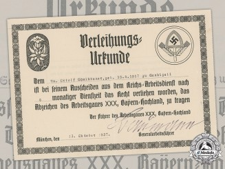 Germany, RAD. An Award Certificate for Ortolf Schmidbauer, 1937
