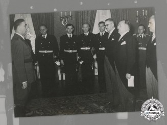 Croatia, Independent State. Large Press Photo of Ante Pavelić meeting Bulgarian Delegation, c.1942
