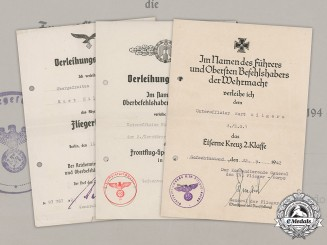 Germany, Luftwaffe. A Group of Award Documents Named to Kurt Hilgers