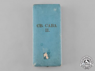 Serbia, Kingdom. An Order St. Sava, II Class Case, by Huguenin Frères & Co.