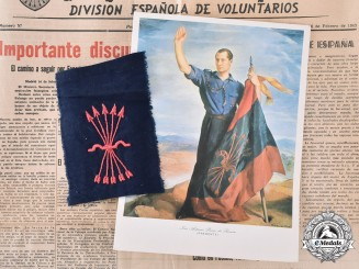 Spain, Fascist State. A Grouping of Falange Documents and Cloth Insignia