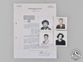 United States. A Document & Photographs Signed by Senator John F. Kennedy & Family