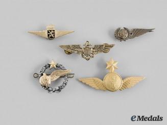 Belgium, Ethiopia, France, Portugal, United States. Lot of Five Pilot Badges