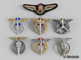 Czechoslovakia, Socialist Republic; Czech Republic. Seven Air Force Badges