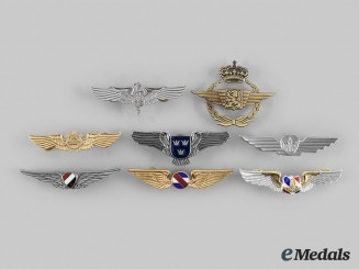 Egypt, Thailand, Uruguay, Taiwan, Japan, International. Lot of Eight Air Force Badges
