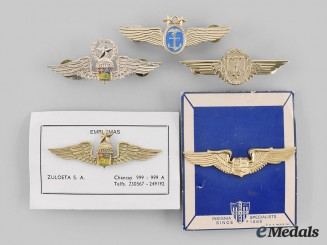 Germany, Peru, Venezuela, International. Lot of Five Air Force Badges