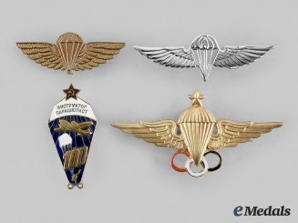 France, Russia, International. Lot of Four Parachutist Badges