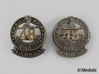 Canada, CEF. A 48th Highlanders of Canada Collar Badge Pair