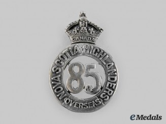 "Canada, CEF. A 85th Infantry Battalion ""Nova Scotia Highlanders"" Officer's Glengarry Badge Centrepiece"