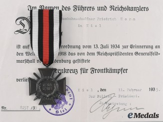 Germany, Third Reich. An Honour Cross of the World War 1914/1918, with Award Document to Friedrich Horn, c. 1935