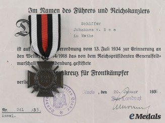 Germany, Third Reich. An Honour Cross of the World War 1914/1918, with Award Document to Johannes von See, c. 1936
