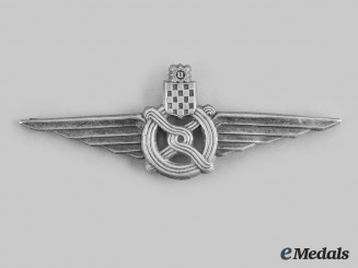 Croatia, Independent State. A Railway Officer's Peaked Cap Badge