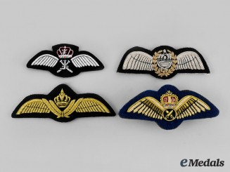 Jordan, Malaysia, Oman. Lot of Four Air Force Pilot Badges
