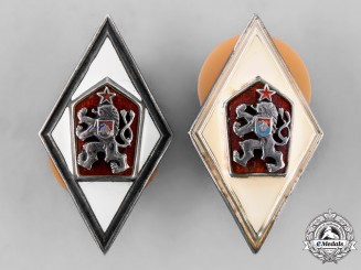 Czechoslovakia, Socialist Republic. A Set of Military Academy Graduation Badges, by Zukov
