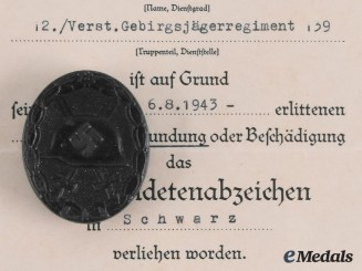 Germany, Heer. A Wound Badge, Black Grade, with Award Document to Grefreiter Helmut Neuber
