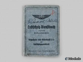 Germany, Third Reich. A Luftschutz Service Book to Wilhelm Düvel