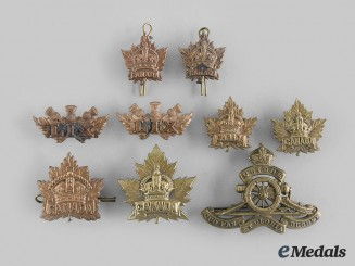 Canada, CEF. Nine First War Era Cap & Collar Badges