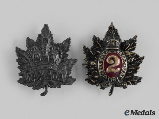 Canada, Dominion. Two Victorian Era Cap Badges