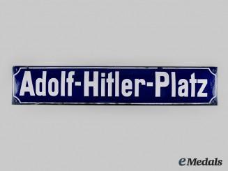 Germany, Third Reich. An AH Platz Street Sign, by Schulze & Wehrmann