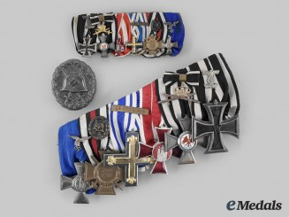 Germany, Third Reich. An Extensive Medal Bar with First and Second World War Decorations, with Miniature