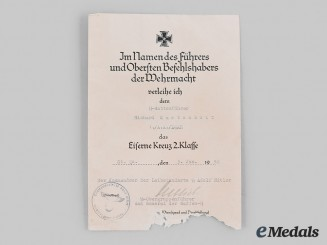 Germany, SS. An Iron Cross II Class Award Document to SS-Rottenführer Richard Kastenbutt, Sepp Dietrich Signature