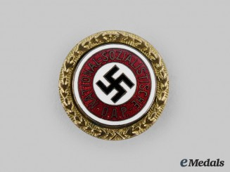 Germany, NSDAP. A Golden Party Badge, Small Version by Josef Fuess, to Wilhelm Sager (96667)