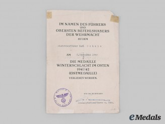 Germany, SS. An Eastern Front Medal Award Document to SS-Rottenführer Karl Schulz