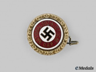 Germany, NSDAP. A Golden Party Badge, Small Version, by Josef Fuess (95411)