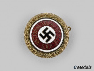 Germany, NSDAP. A Golden Party Badge, Small Version by Josef Fuess, to Paul Gerhards (97347)