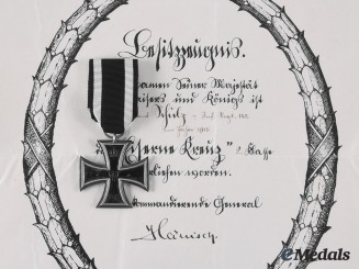 Germany, Imperial. A 1914 Iron Cross II Class, with Award Document