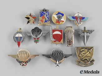 France, V Republic. A Lot of Twelve Paratrooper Badges