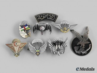 Central African Republic, Egypt, Gabon, Ivory Coast, Morocco, Tunisia. A Lot of Eight African-Based Paratrooper Badges