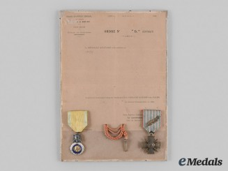 France, III Republic. Two Mounted Awards and Award Document