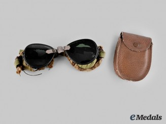 United States. A Pair of United States Army 10th Mountain Division Ski Goggles with Case, c. 1941
