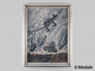 Germany, Luftwaffe. A Battle of France Stuka Oil Painting, by H. Gudd