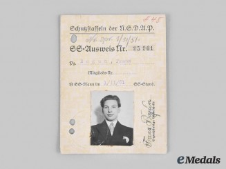 Germany, SS. An Early SS Member's Identification Card Named to Franz Bogun