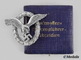 Germany, Luftwaffe. A Pilot's Badge, with Case, by Gebrüder Schneider
