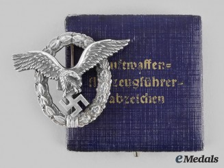 Germany, Luftwaffe. A Pilot's Badge, with Case, by Gebrüder Schneider