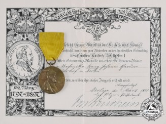 Germany, Imperial. An Emperor Wilhelm Centennial Medal and Award Certificate