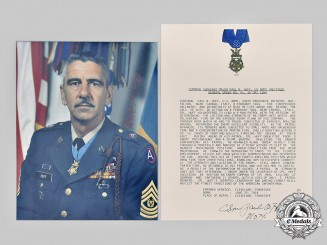 United States. A Signed Photograph of MOH Recipient, Paul Bert Huff, February 1944, 509th Parachute Infantry Battalion