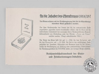 Germany, Third Reich. An Announcement of the Introduction of Official Cases for the Hindenburg Cross, c. 1935