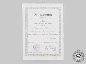 Germany, Imperial. A 1914 Iron Cross II Class Award Document to Waffenmeister Holder