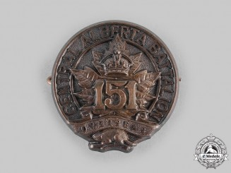 "Canada, CEF. A 151st Infantry Battalion ""151st Central Alberta Battalion"" Cap Badge, Type II without ""Canada"""
