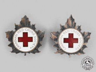 Canada, Commonwealth. Two Second War Canadian Red Cross Society Cap Badges