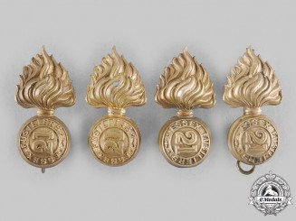 Canada, Dominion. Four Pre-First War 21st Regiment Essex Fusiliers Collar Badges