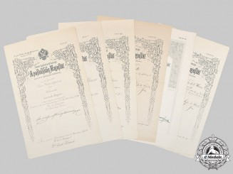 Austria, Imperial. Six Large Promotion Certificates to General Staff Surgeon Dr. Erich Kunze c.1900