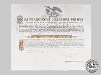 Austria, Imperial. A Large Order of the Iron Crown III Class Knight's Cross Certificate in Latin to Bank Director, 1885