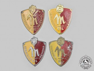 Italy, Kingdom. A Lot of Four GIL (Gioventu Italiana del Littorio) Fascist Youth Sleeve Badges