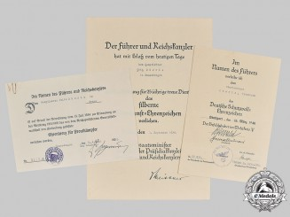 Germany, Heer. A Lot of Award Documents to Oberleutnant Friedrich Oberle